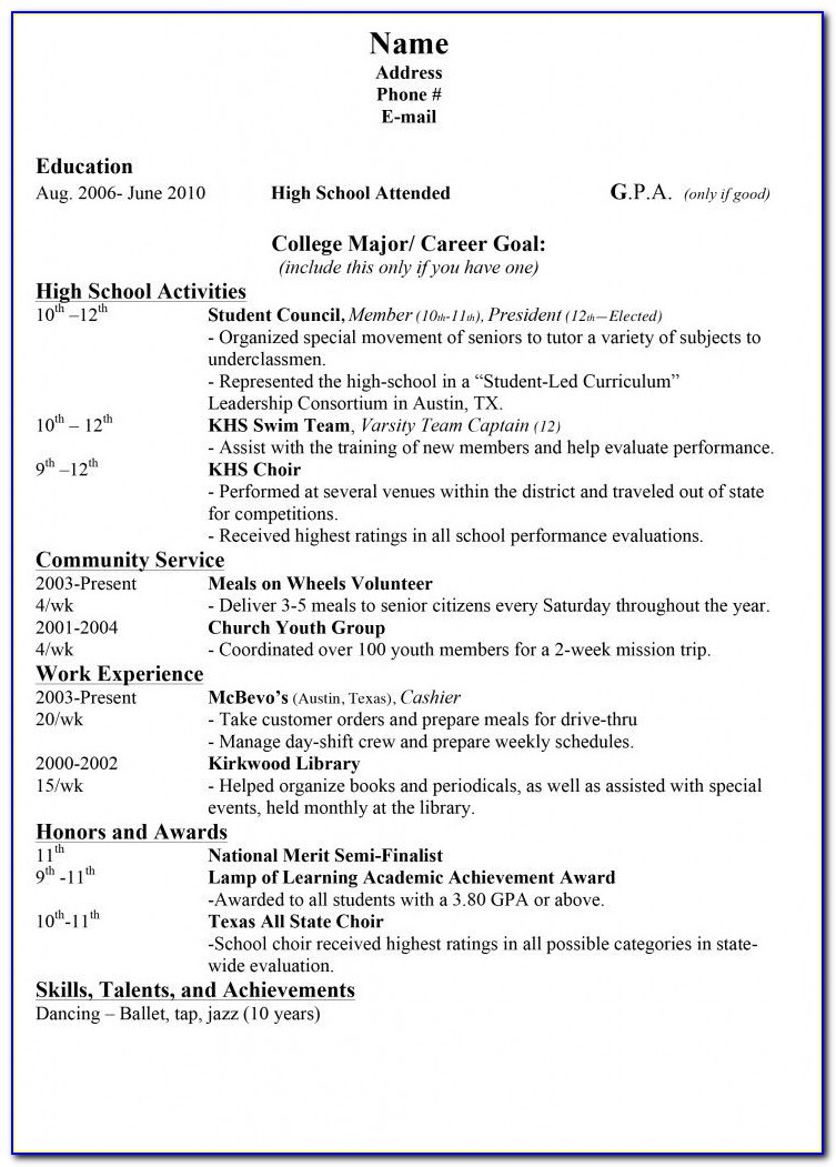 Text Resume Builder P&g
