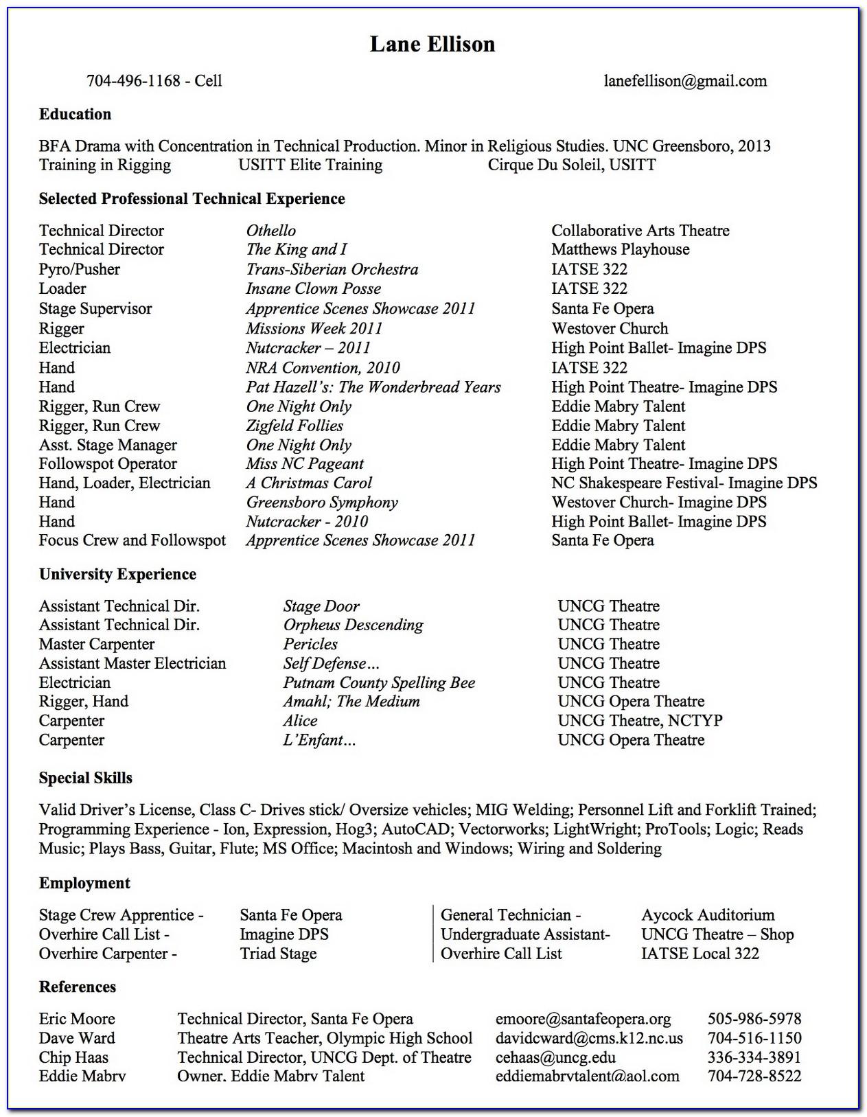 Theatre Resume Creator