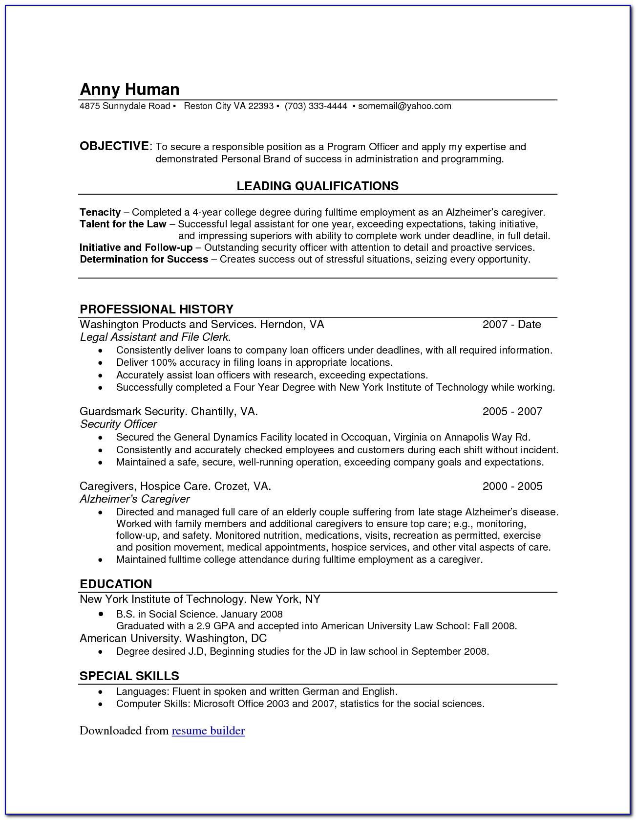 Totally Free Printable Resume