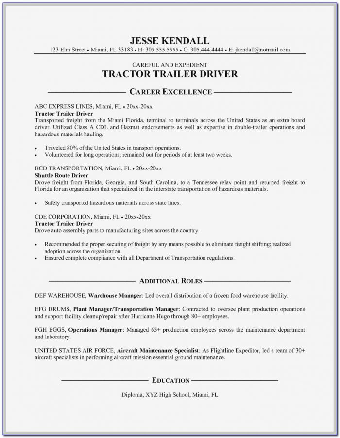 Truck Driving Resume Objective Examples