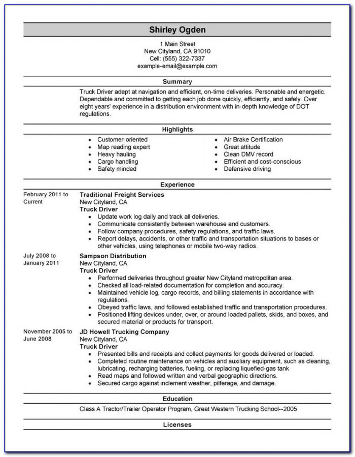 Truck Driving Resume Summary