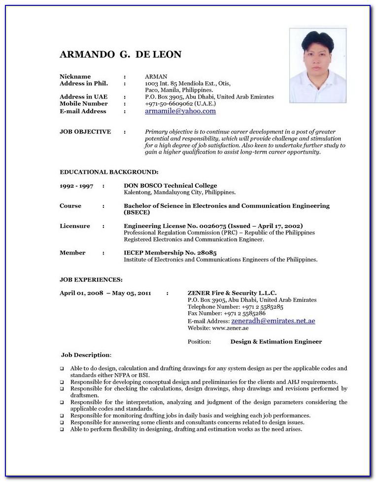 Update Resume Format 2018