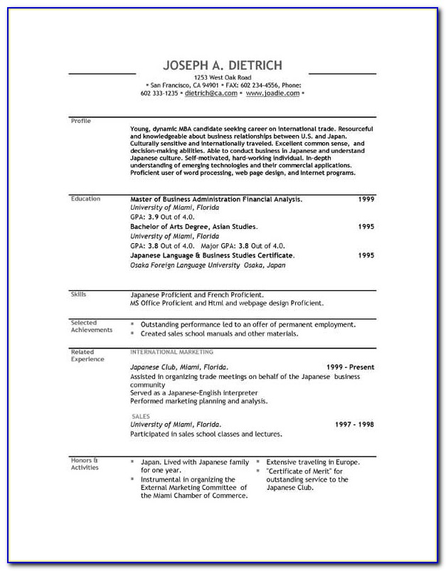 Us Cv Template Download