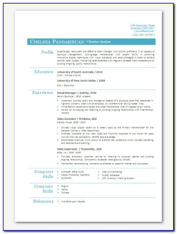 Using Word Templates For Resume