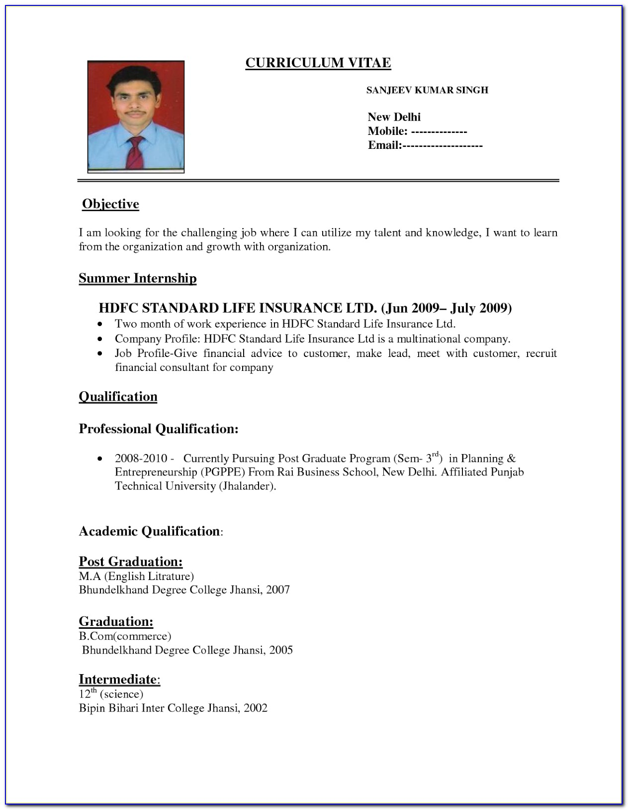 Very Simple Resume Format Doc
