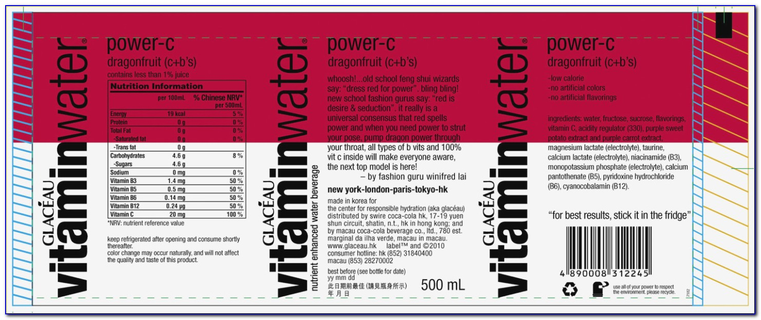 Vitamin Water Label Template Download