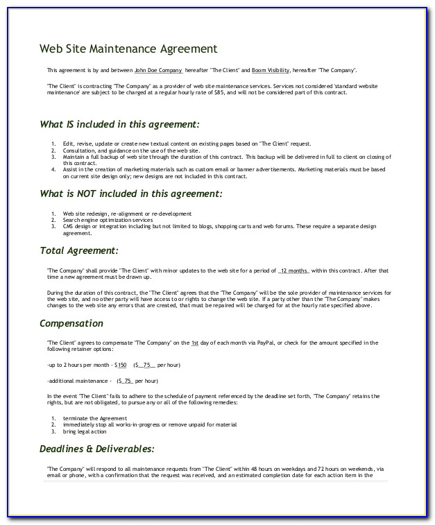 Website Maintenance Service Level Agreement Template