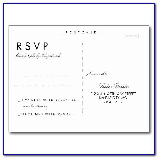 Wedding Rsvp Postcard Template