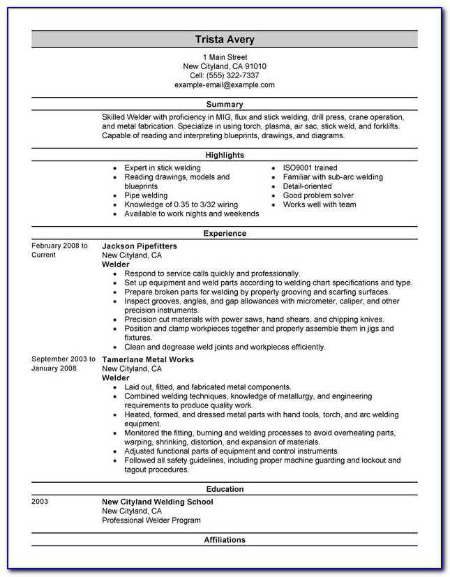 Welding Resume Examples Templates