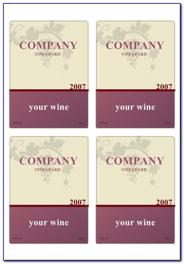 Wine Bottle Label Template Word Free
