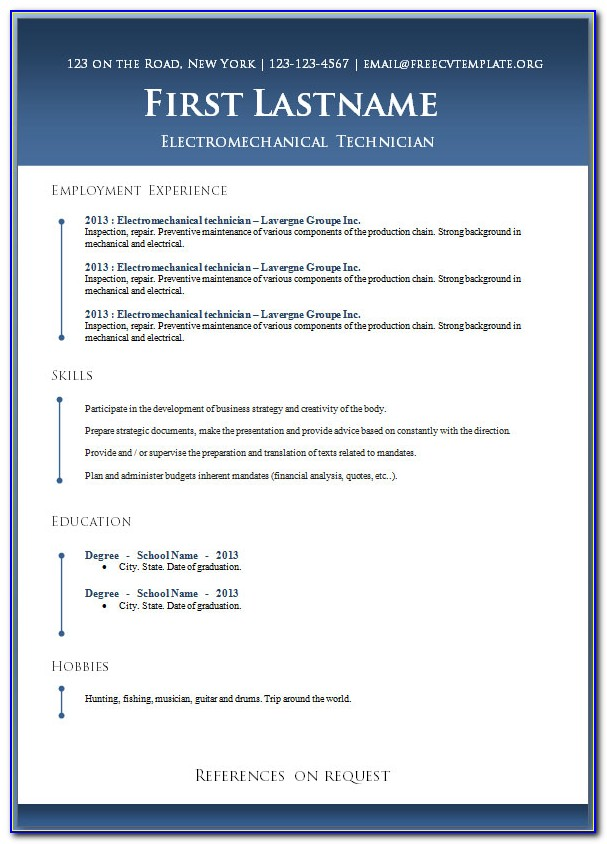Word Document Resume Templates Free Download