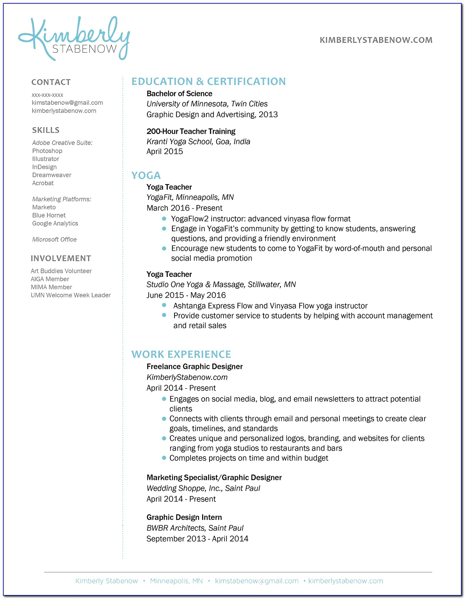 Yoga Teacher Resume Template Little Experience