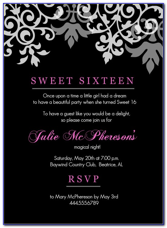 16th Birthday Invitation Templates