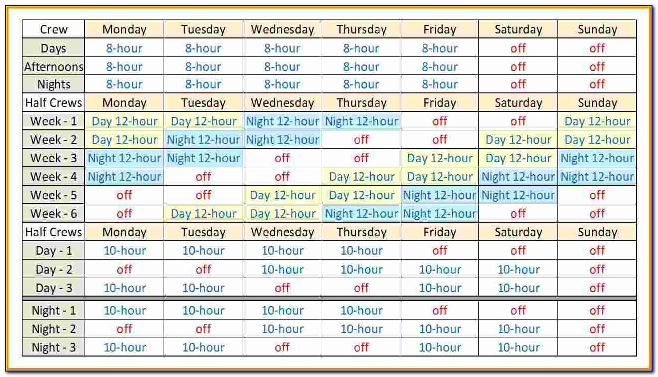 24 Hour Rotating Shift Schedule Examples