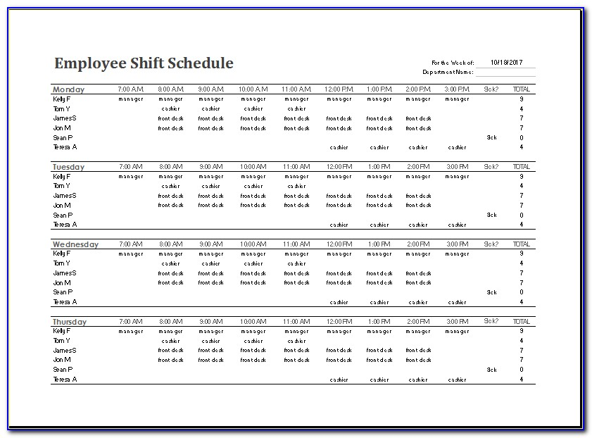 24 Hour Work Schedule Template