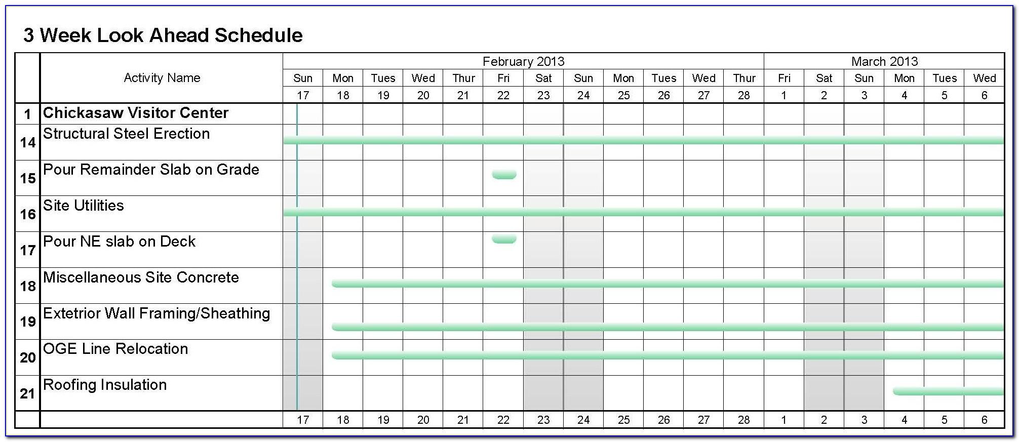 3 Week Look Ahead Construction Schedule Template Excel