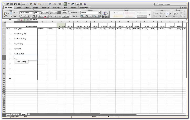 3 Week Look Ahead Schedule Template Excel