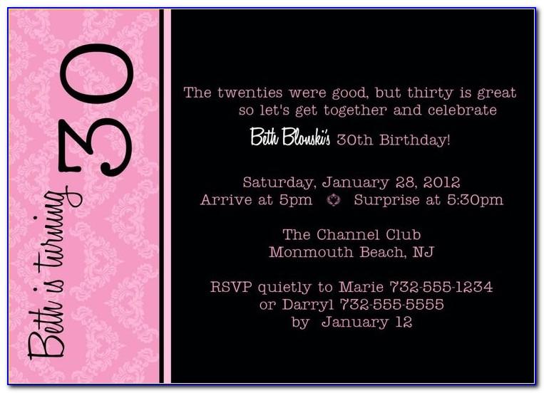 30th Birthday Party Invitation Wording Samples