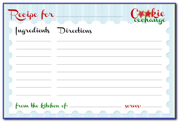 4x6 Christmas Recipe Card Template