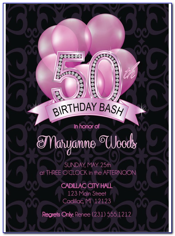 50th Birthday Invitation Templates Word