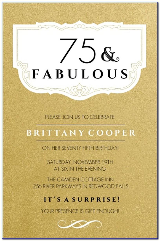 75th Birthday Invitation Layout