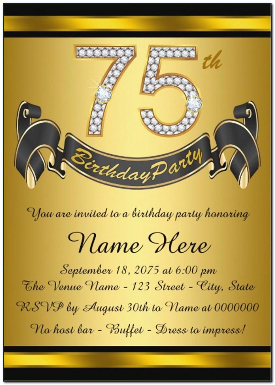 75th Birthday Invitation Templates