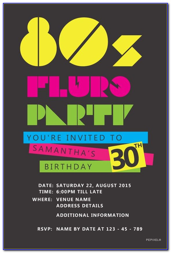 80's Party Invitation Templates Free