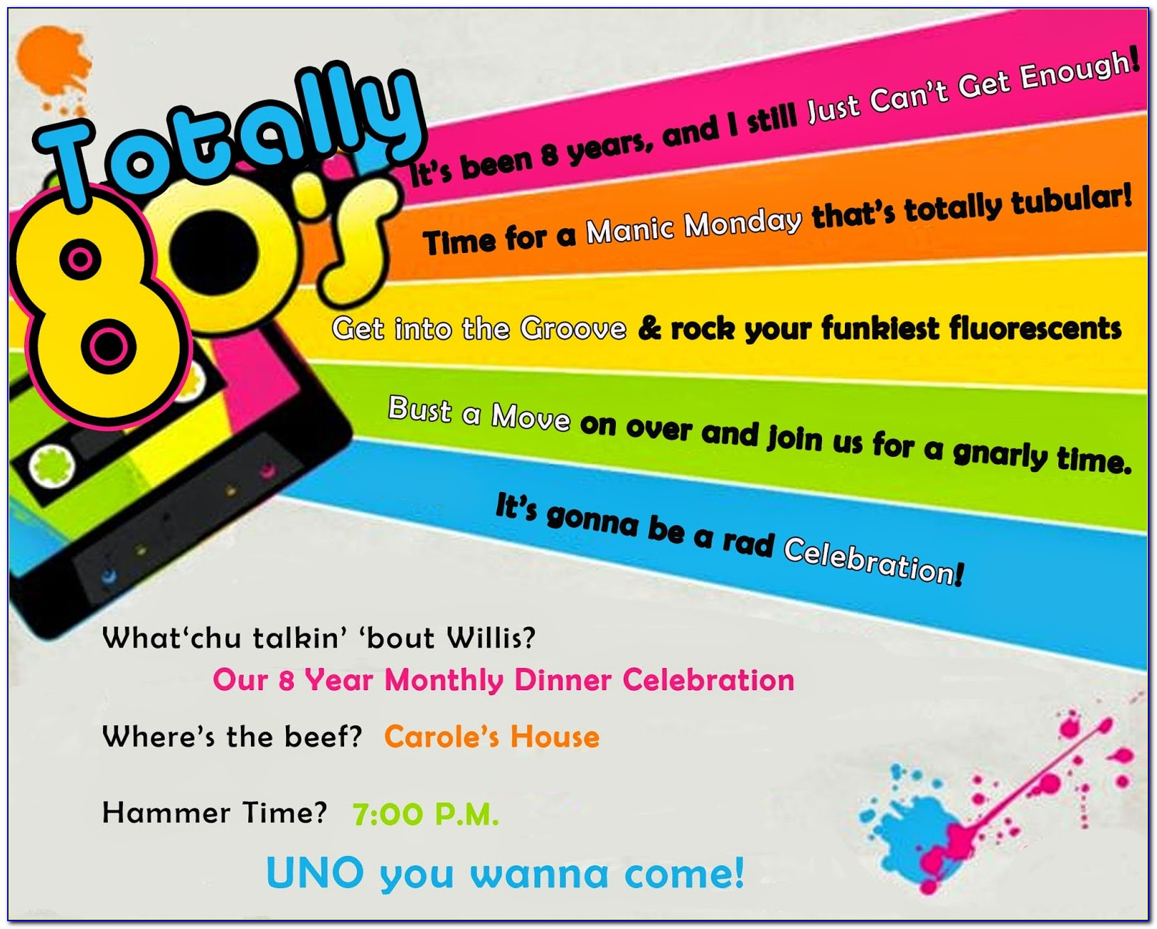 80's Party Invitation Wording Samples