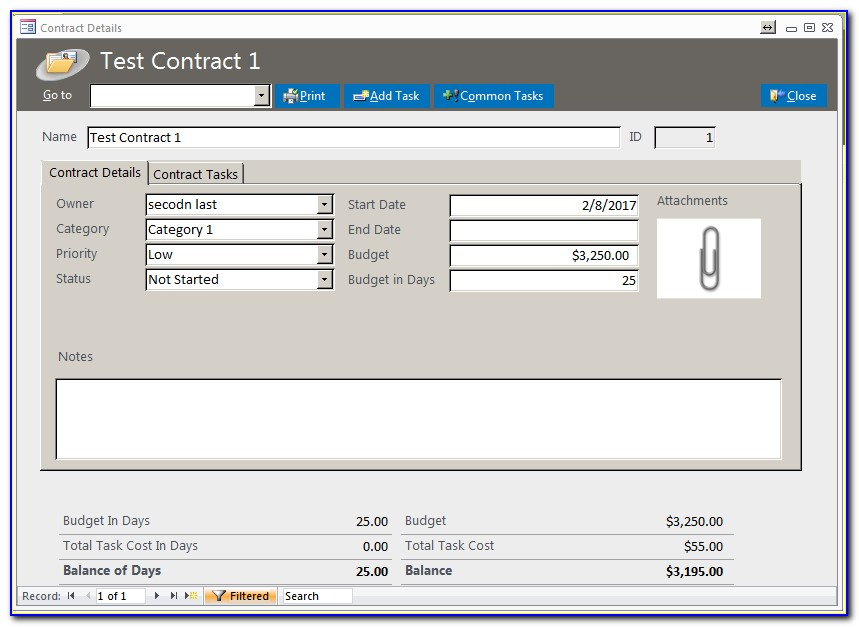 Access 2010 Contract Management Database Template