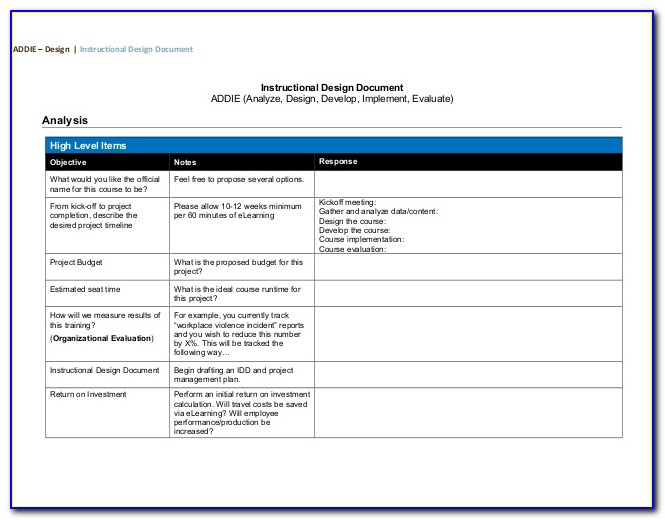 Addie Project Plan Template