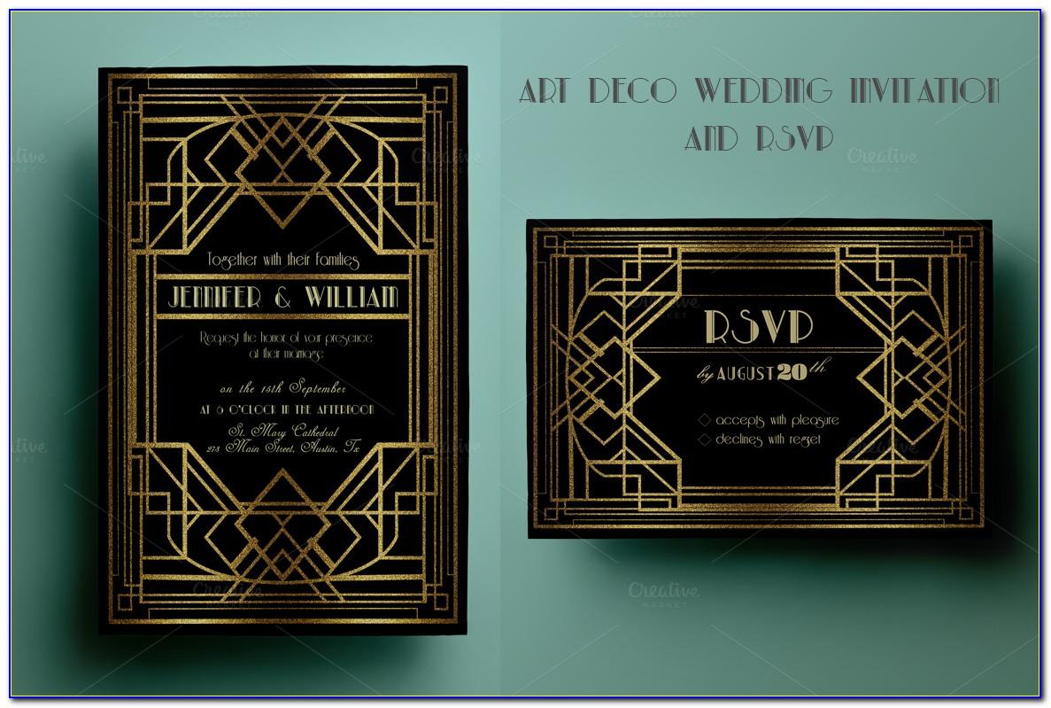 Art Deco Wedding Invitations Templates
