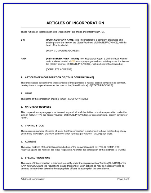 Articles Of Incorporation Oregon Llc Template