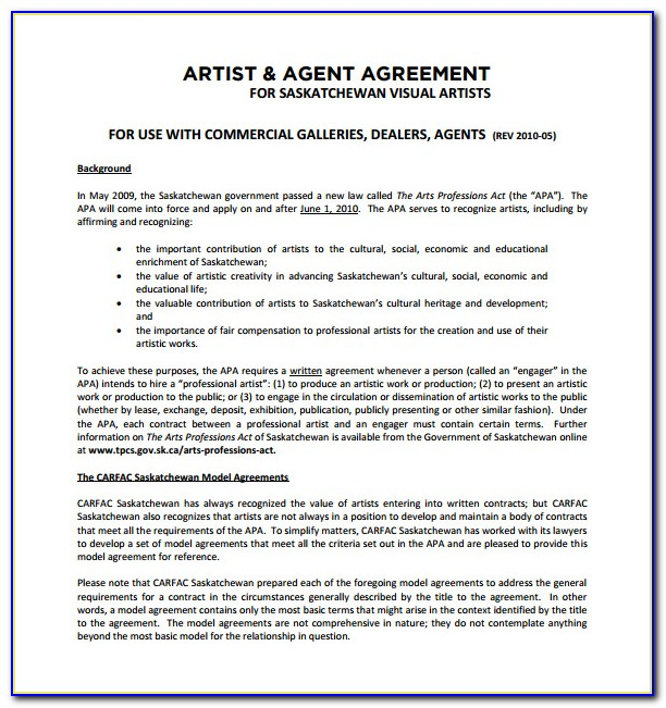 Artist Contract Template Free