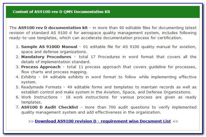 As9100 Rev D Quality Manual Sample
