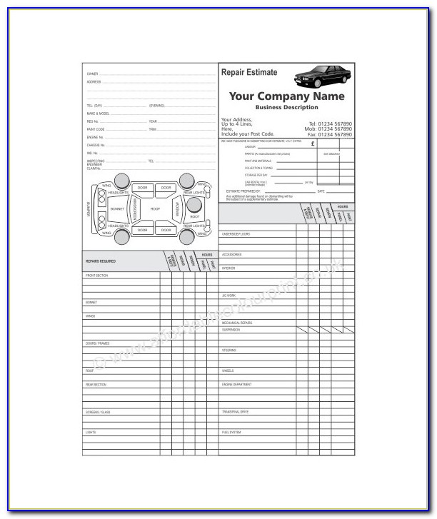 Auto Body Repair Estimate Forms Free