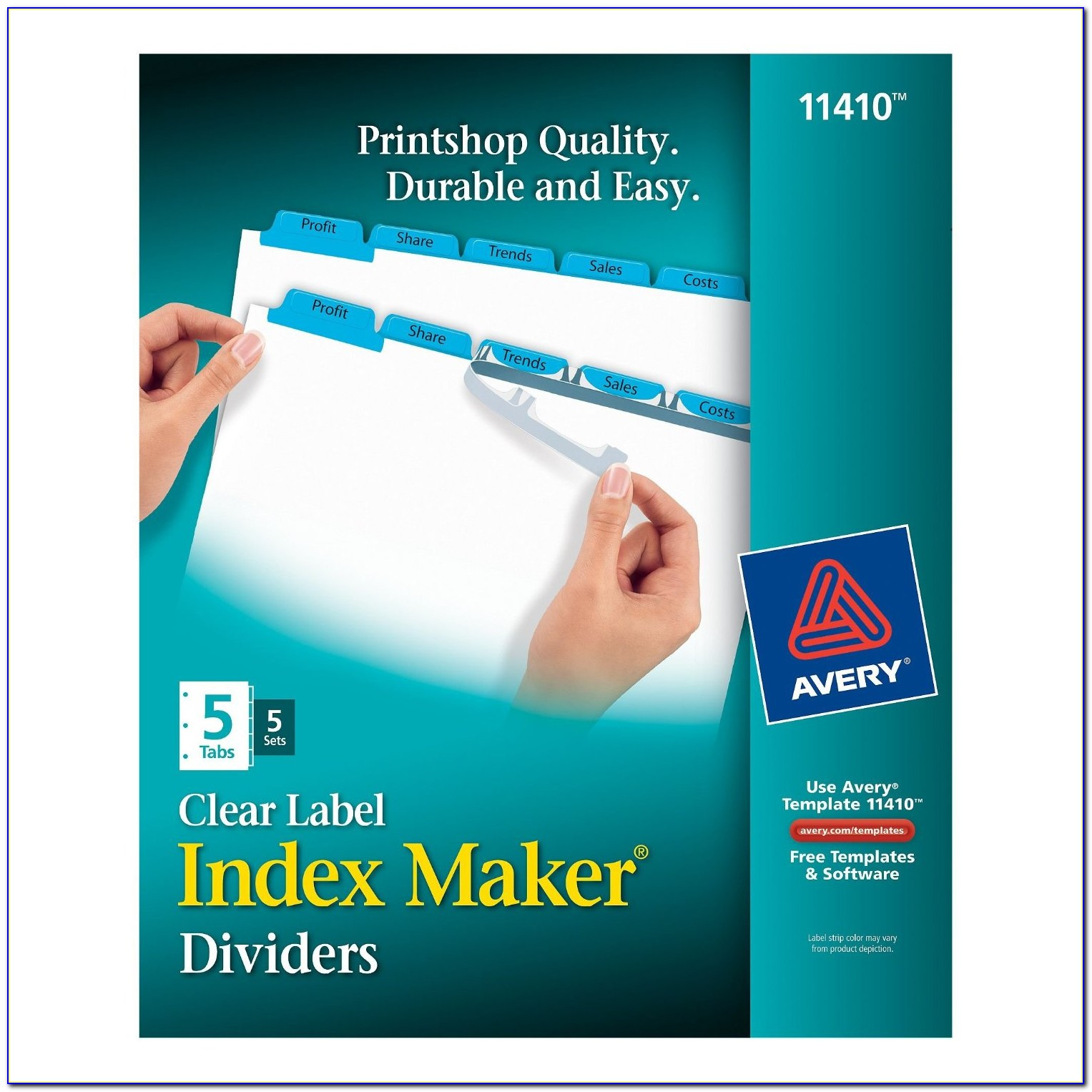 Avery Clear Label Index Maker Dividers 5 Tab Template