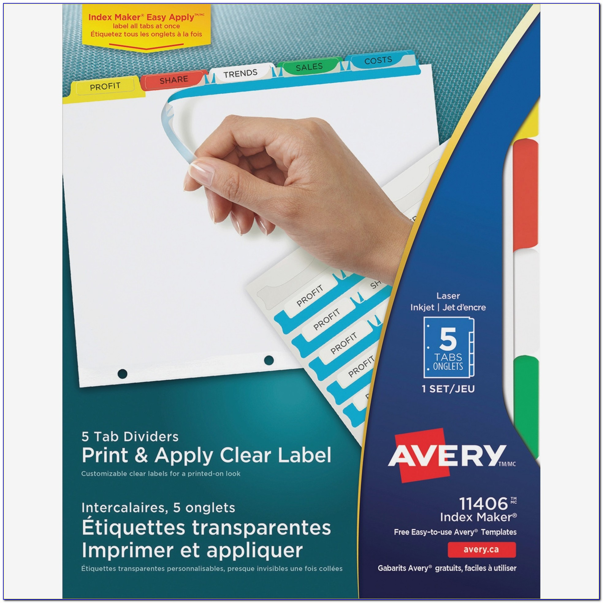 Avery Easy Apply Label Strips 12 Tab Template