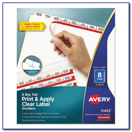 Avery Easy Apply Label Strips For Avery Clear Label Index Maker Dividers Template