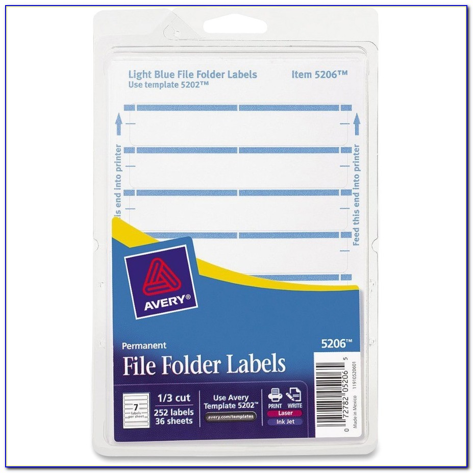 Avery Filing Labels Template Avery Permanent 1 3 Cut File Folder Labels Ave05206