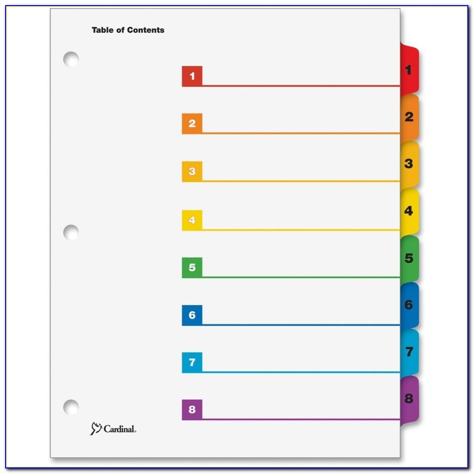 Avery Index Dividers 8 Tab Template