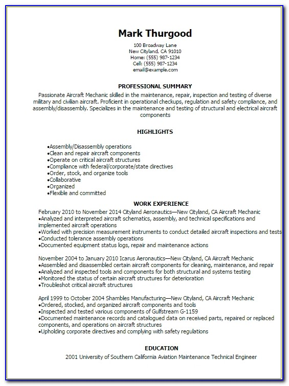 Aircraft Mechanic Resume Sample Selo.l Ink.co For Resume Templates Aviation