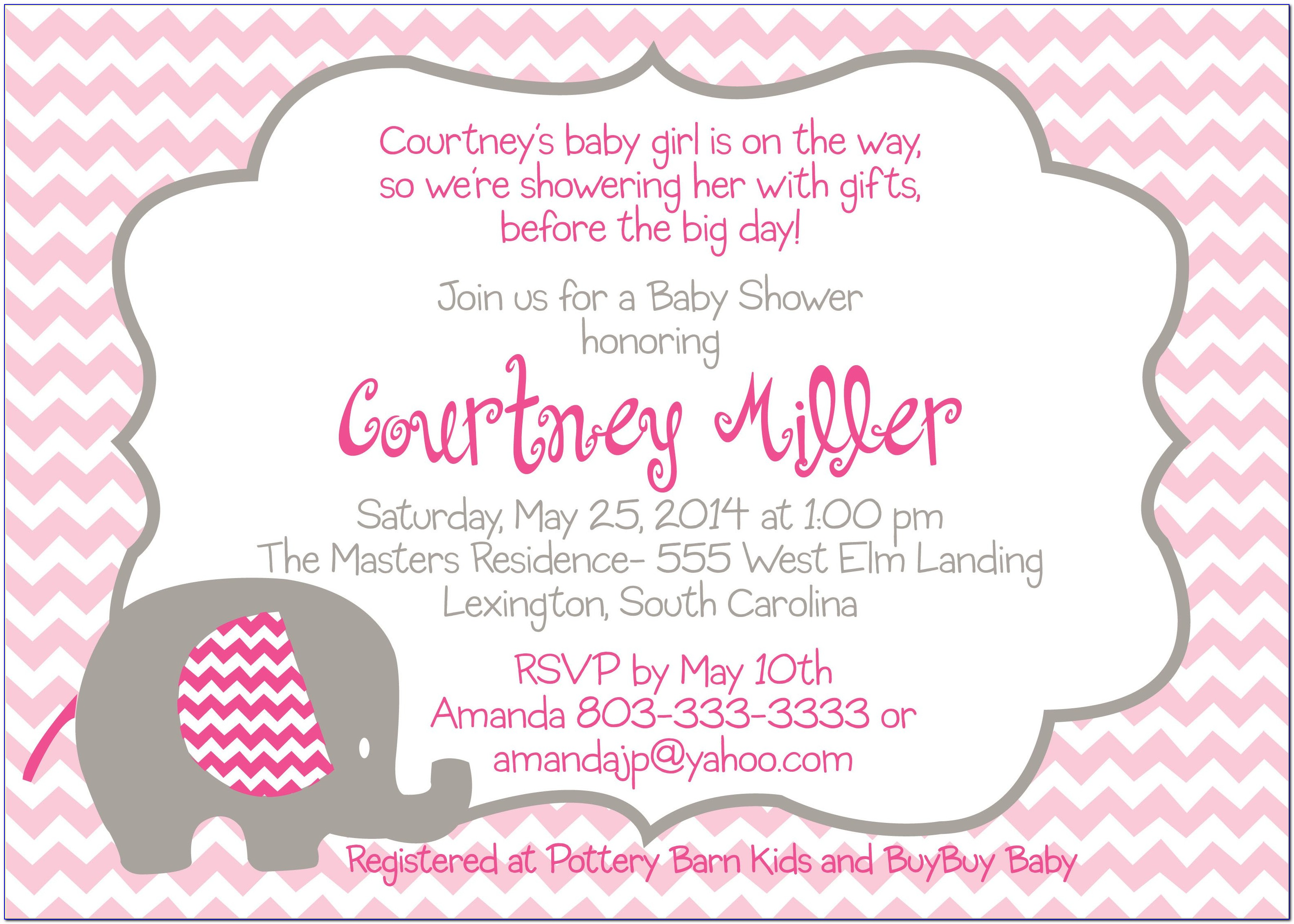 Baby Girl Baby Shower Invitation Templates