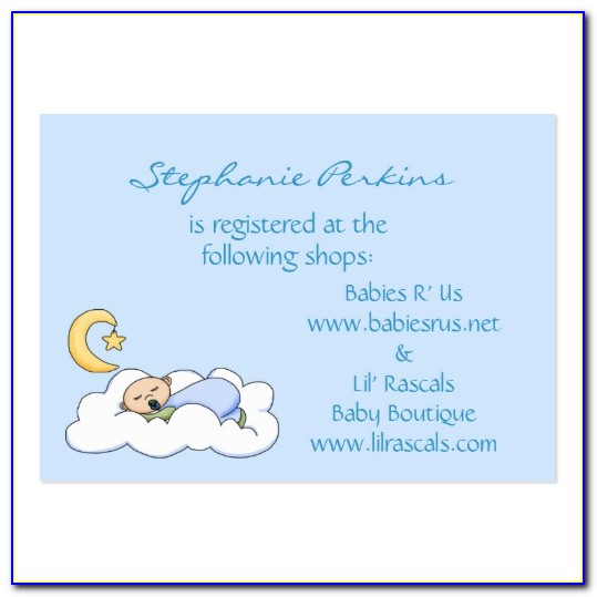 Baby Shower Gift Registry Cards Templates