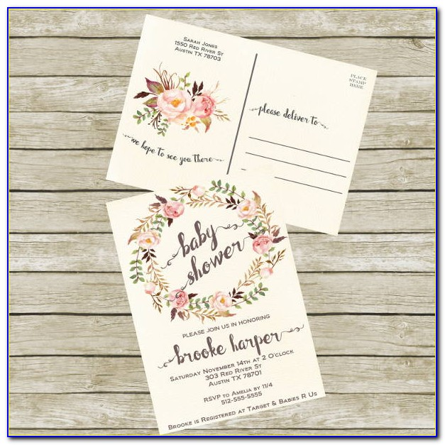 Baby Shower Postcard Invitations Templates