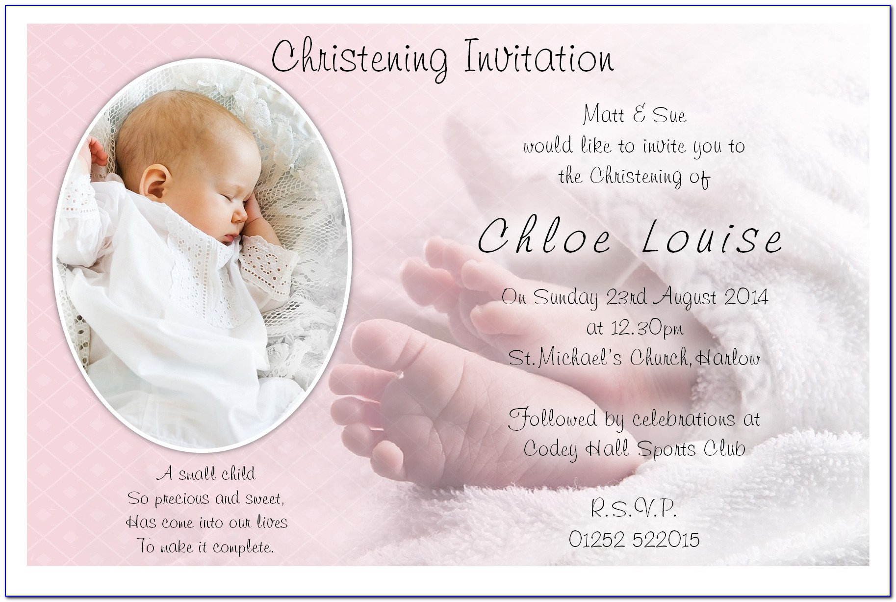 Baptism Invitation Girl Free Template