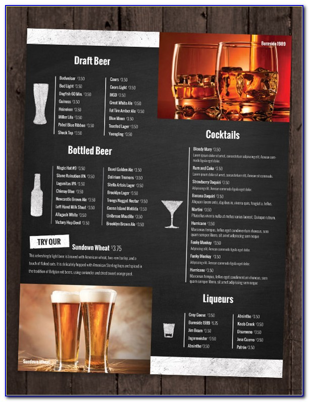 Bar Restaurant Menu Templates