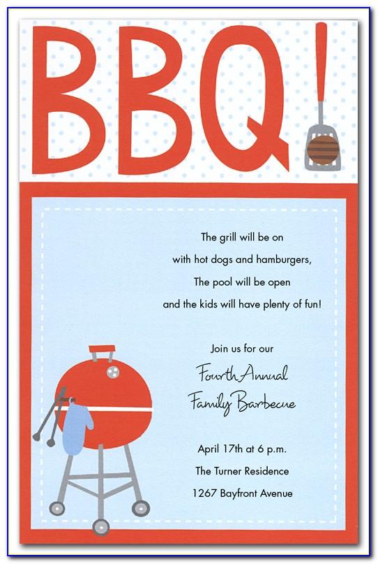 Barbecue Invitation Wording Samples