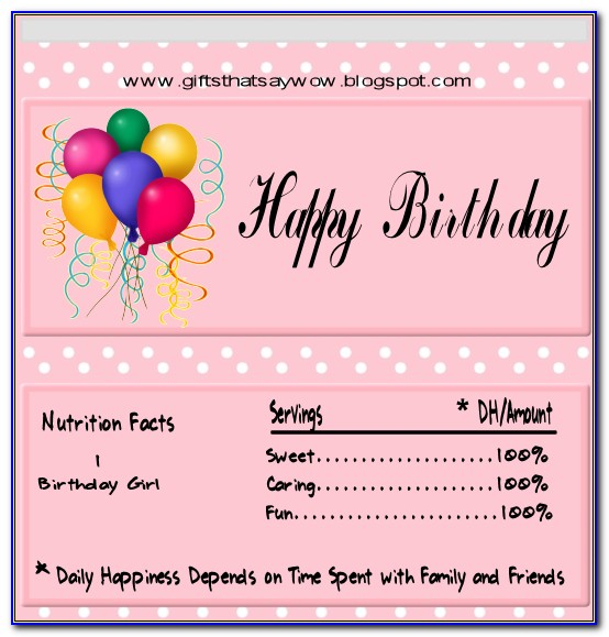 Birthday Candy Bar Wrappers Template Free