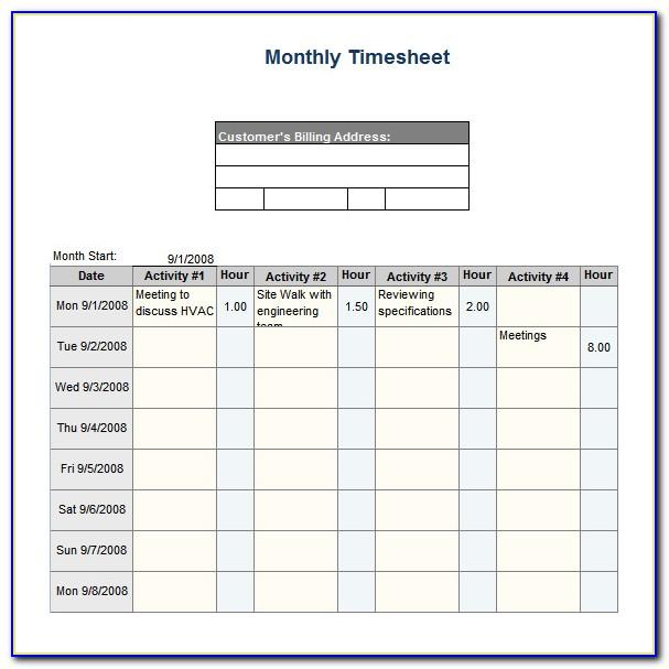 Biweekly Timesheet Template Excel Free Download