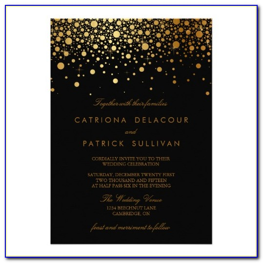 Black And Gold Wedding Invitations Templates